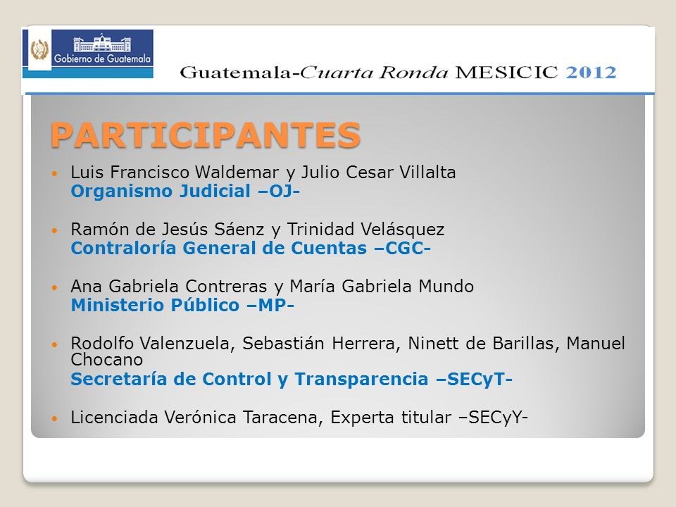 PARTICIPANTES Luis Francisco Waldemar y Julio Cesar Villalta