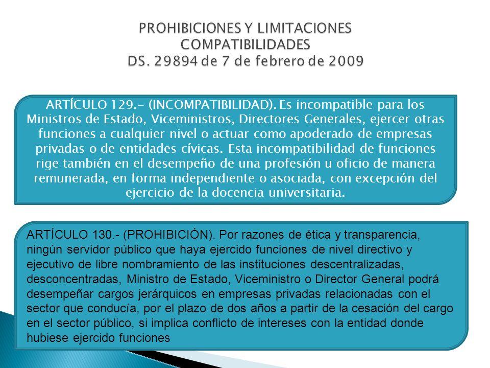 PROHIBICIONES Y LIMITACIONES COMPATIBILIDADES DS