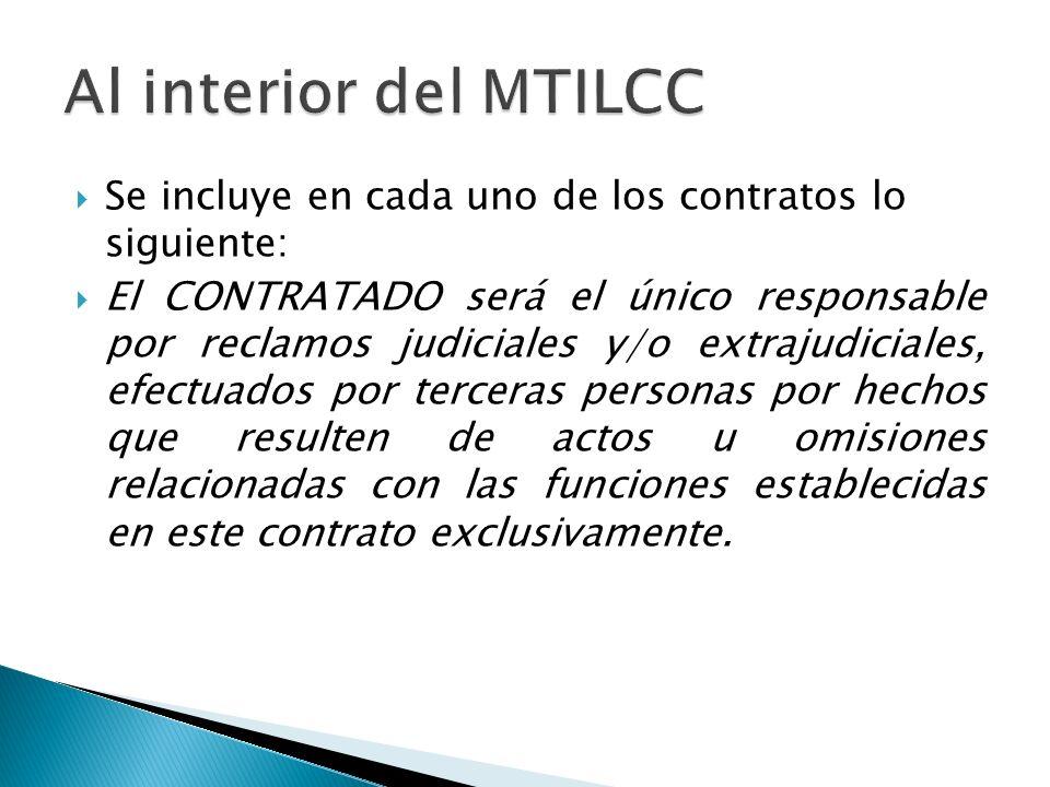 Al interior del MTILCC Se incluye en cada uno de los contratos lo siguiente: