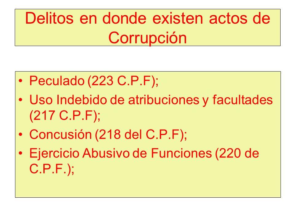 Delitos en donde existen actos de Corrupción