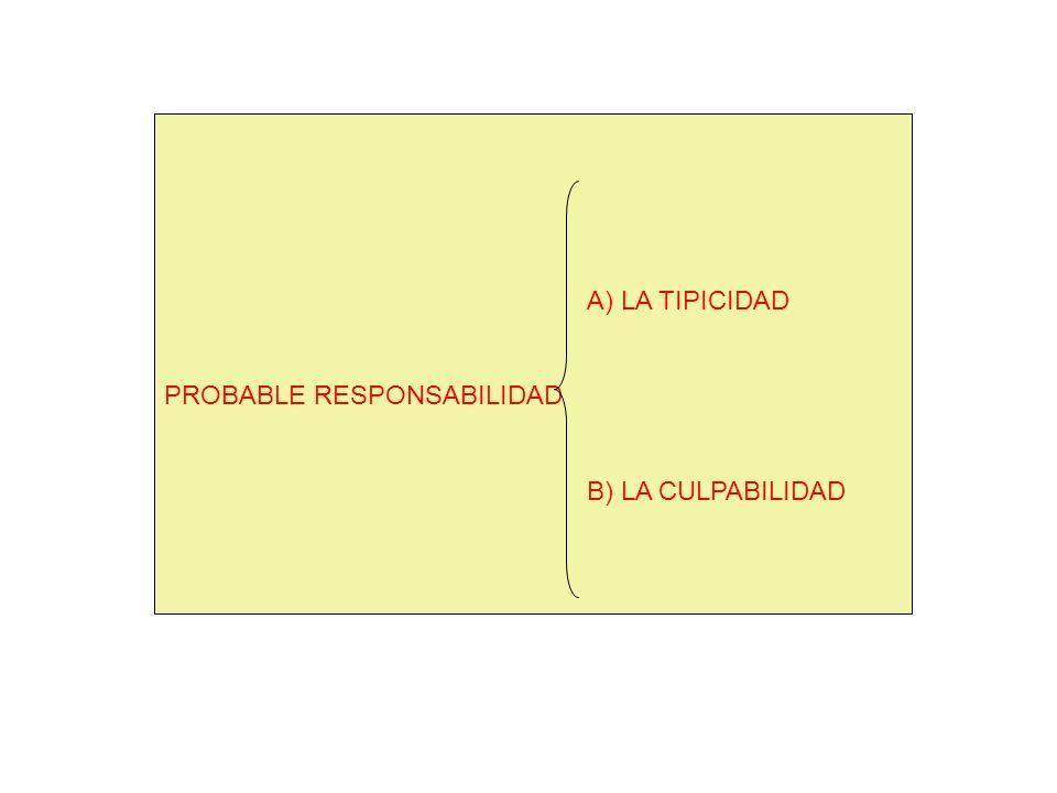 A) LA TIPICIDAD PROBABLE RESPONSABILIDAD B) LA CULPABILIDAD