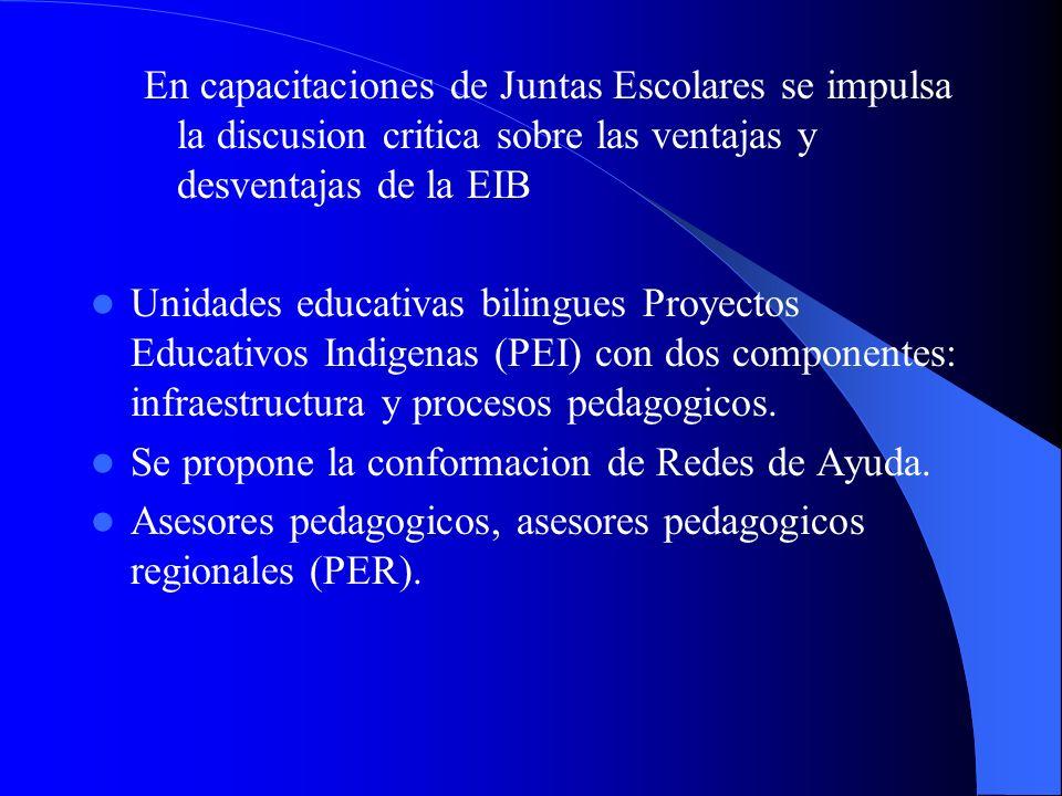 En capacitaciones de Juntas Escolares se impulsa la discusion critica sobre las ventajas y desventajas de la EIB