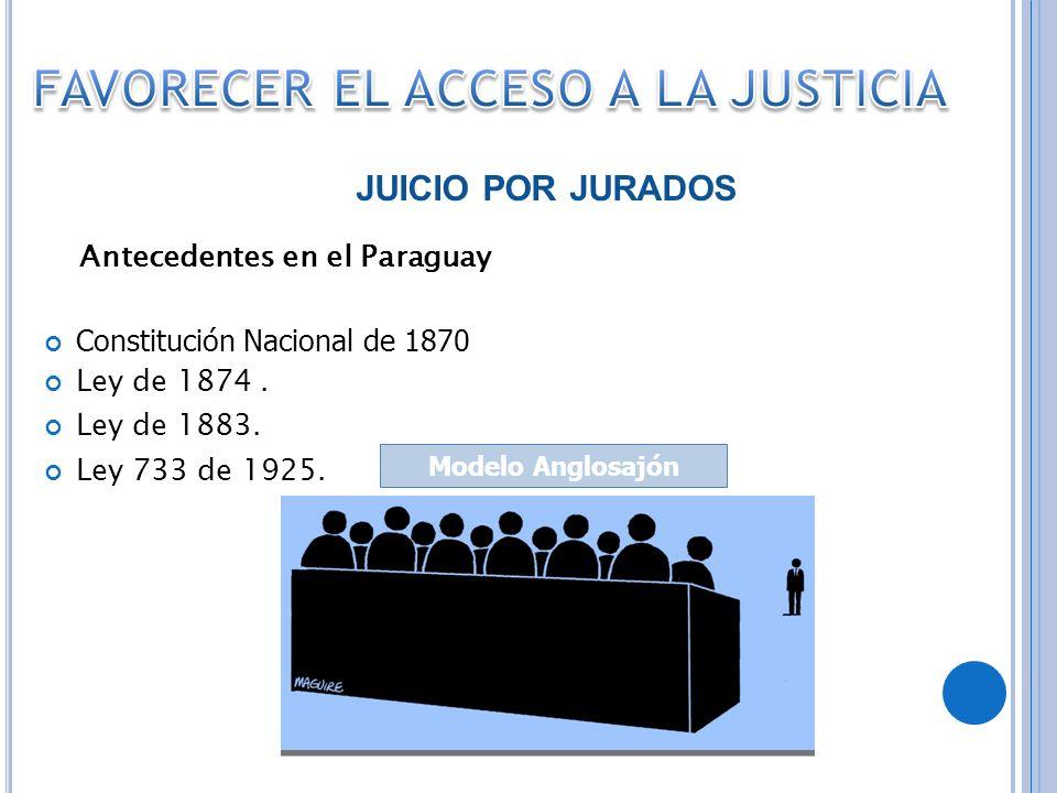 FAVORECER EL ACCESO A LA JUSTICIA Antecedentes en el Paraguay