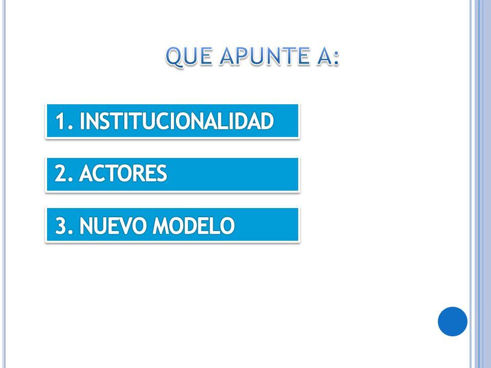 QUE APUNTE A: INSTITUCIONALIDAD ACTORES NUEVO MODELO