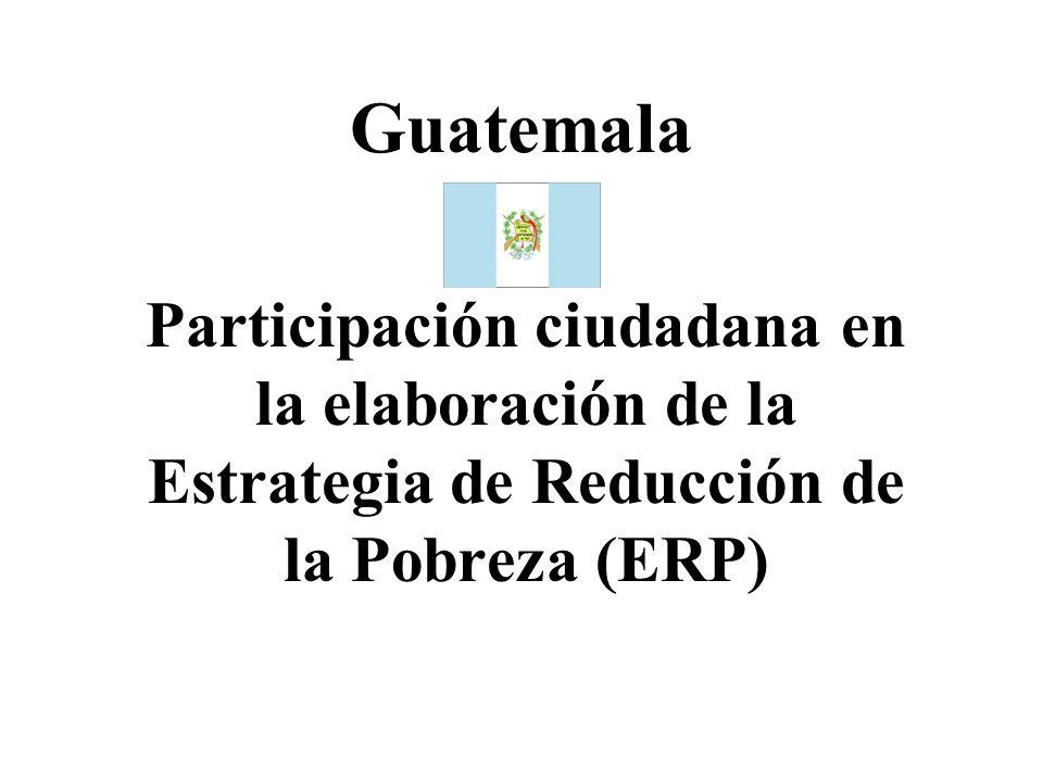 GuatemalaParticipación ciudadana en la elaboración de la Estrategia de Reducción de la Pobreza (ERP)
