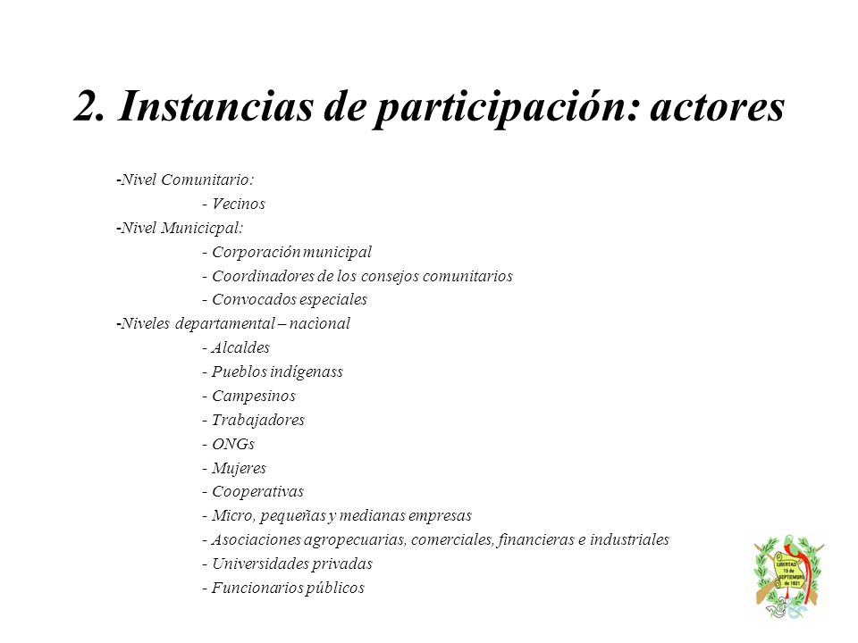 2. Instancias de participación: actores