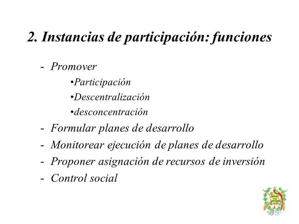 2. Instancias de participación: funciones