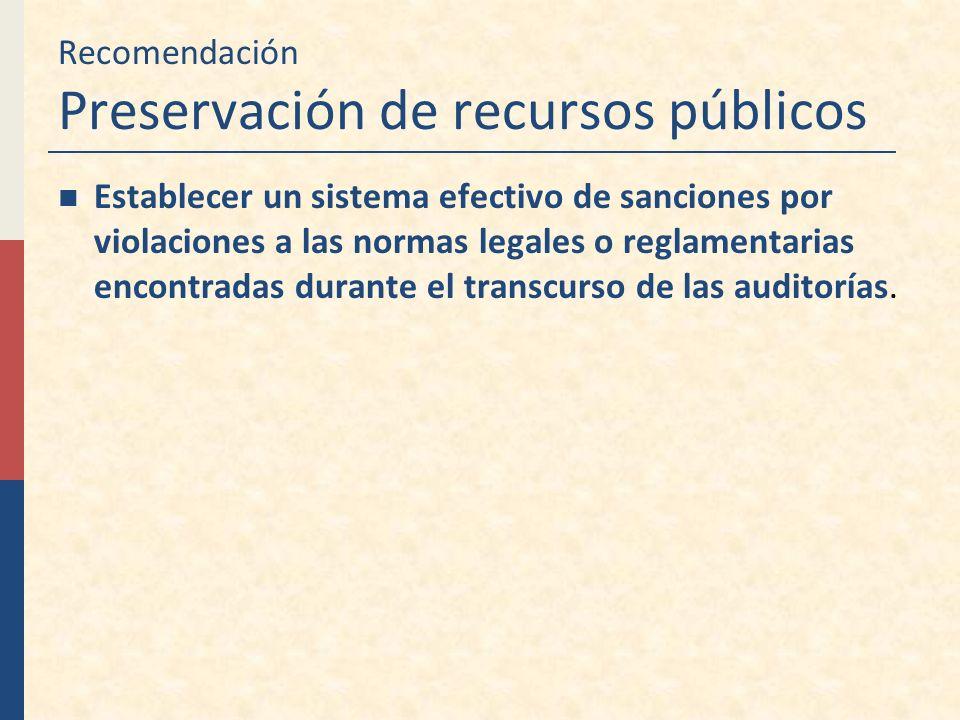 Recomendación Preservación de recursos públicos