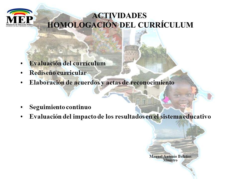 ACTIVIDADES HOMOLOGACIÓN DEL CURRÍCULUM