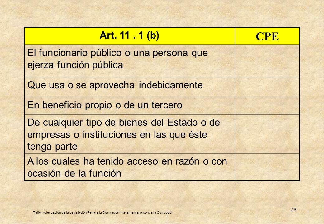 Art. 11 . 1 (b) CPE. El funcionario público o una persona que ejerza función pública. Que usa o se aprovecha indebidamente.