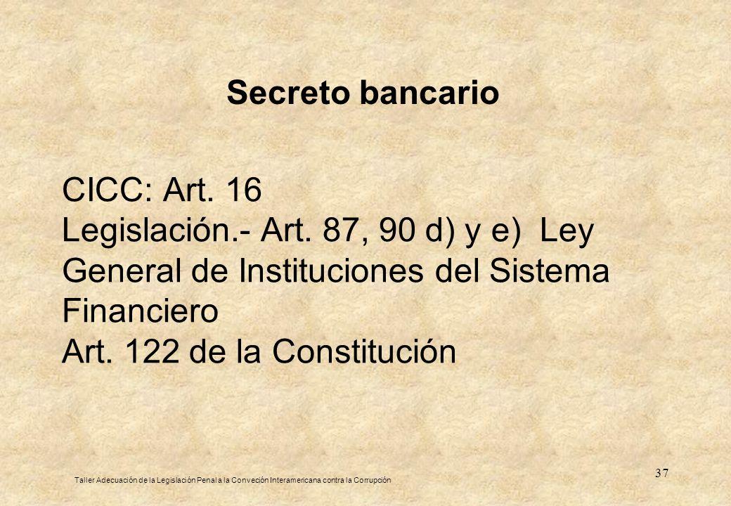 Secreto bancario CICC: Art. 16 Legislación.- Art. 87, 90 d) y e) Ley General de Instituciones del Sistema Financiero Art. 122 de la Constitución.