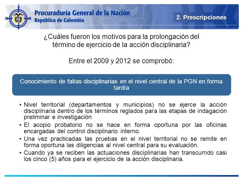 2. Prescripciones ¿Cuáles fueron los motivos para la prolongación del término de ejercicio de la acción disciplinaria