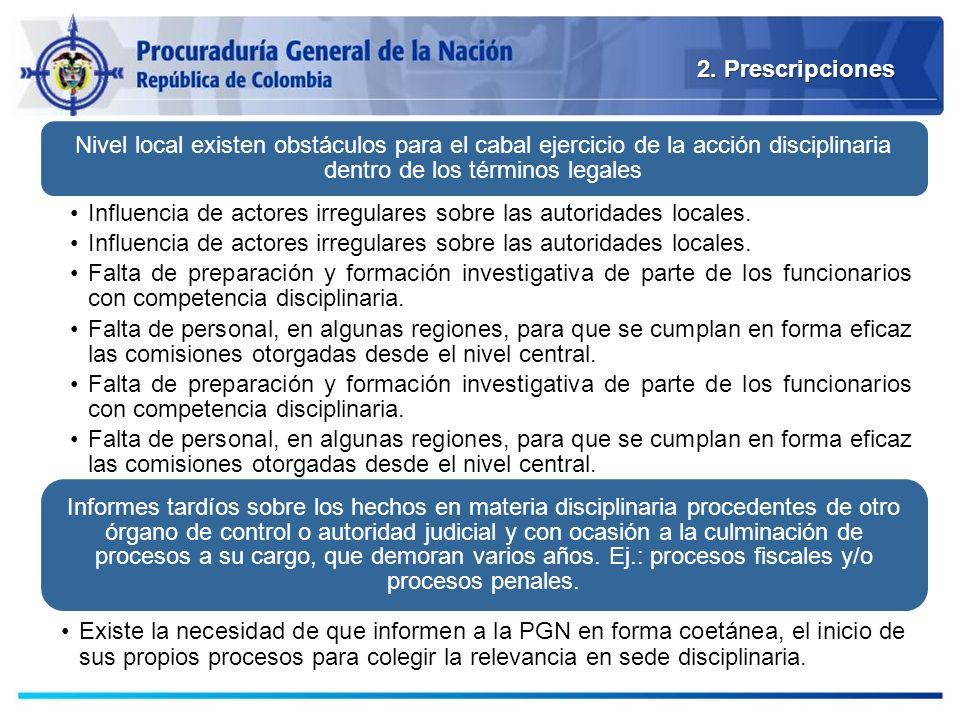 2. Prescripciones Nivel local existen obstáculos para el cabal ejercicio de la acción disciplinaria dentro de los términos legales.