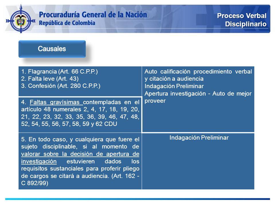 Proceso Verbal Disciplinario Causales 1. Flagrancia (Art. 66 C.P.P.)