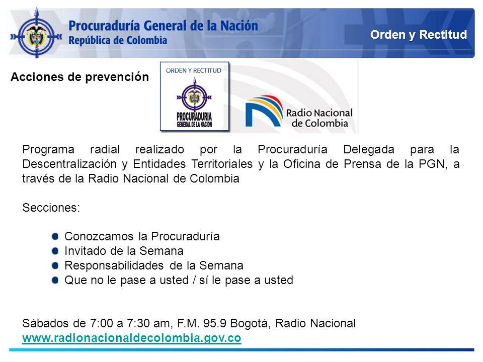 Orden y Rectitud Acciones de prevención.