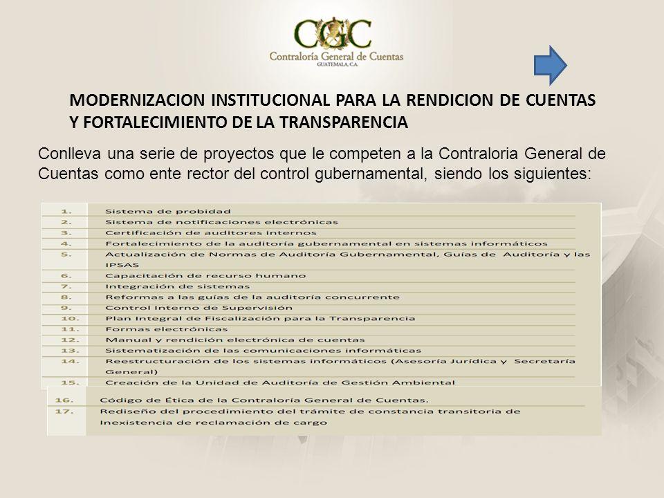MODERNIZACION INSTITUCIONAL PARA LA RENDICION DE CUENTAS Y FORTALECIMIENTO DE LA TRANSPARENCIA