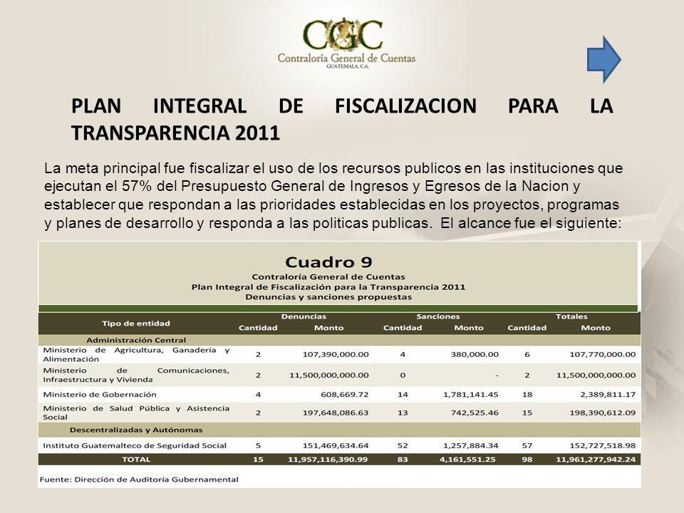 PLAN INTEGRAL DE FISCALIZACION PARA LA TRANSPARENCIA 2011