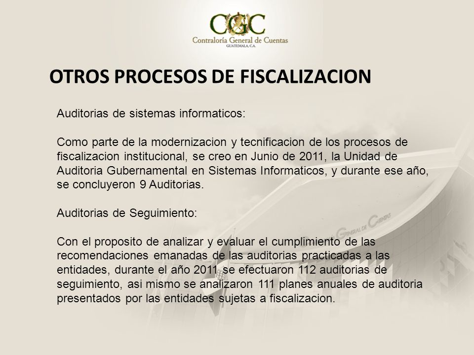 OTROS PROCESOS DE FISCALIZACION