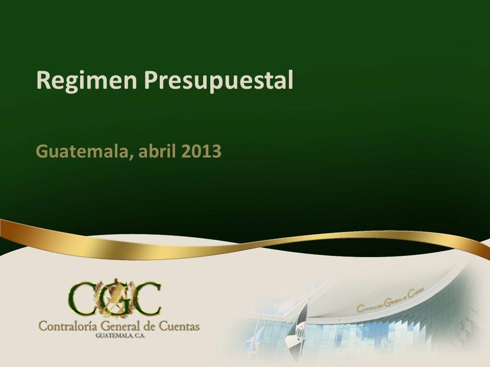 Regimen Presupuestal Guatemala, abril 2013