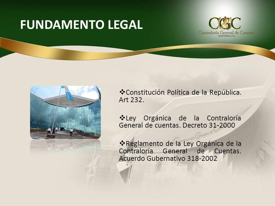 FUNDAMENTO LEGAL Constitución Política de la República. Art 232.