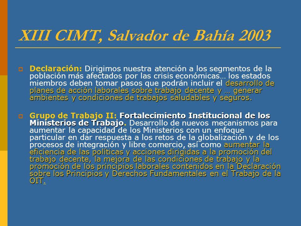 XIII CIMT, Salvador de Bahía 2003