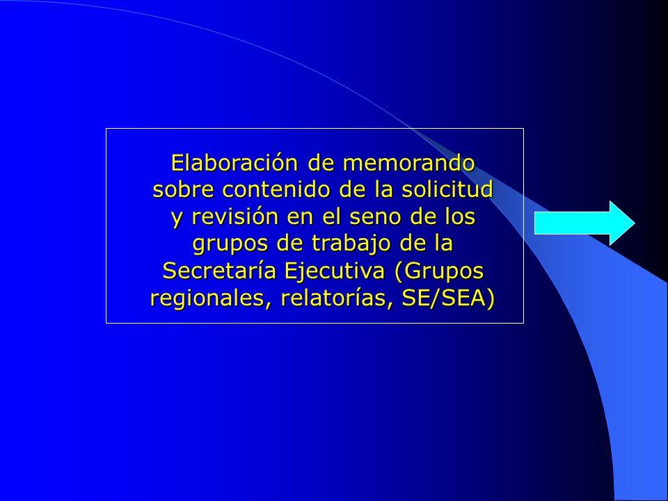 Secretaría Ejecutiva (Grupos regionales, relatorías, SE/SEA)
