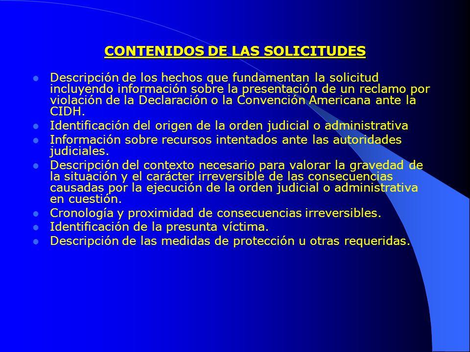 CONTENIDOS DE LAS SOLICITUDES