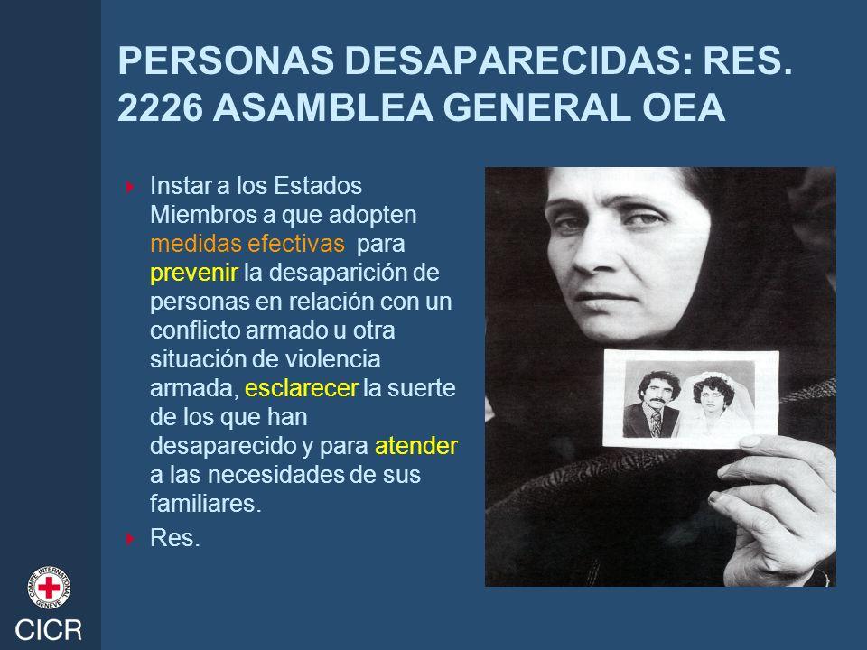 PERSONAS DESAPARECIDAS: RES. 2226 ASAMBLEA GENERAL OEA