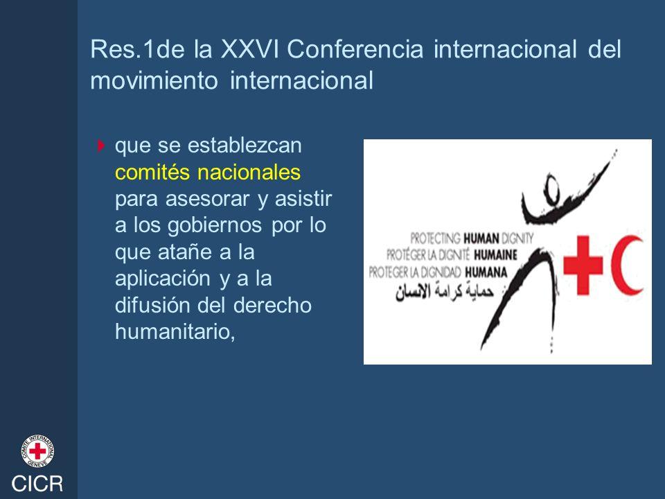 Res.1de la XXVI Conferencia internacional del movimiento internacional