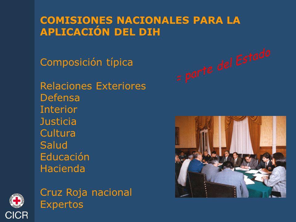= parte del Estado COMISIONES NACIONALES PARA LA APLICACIÓN DEL DIH