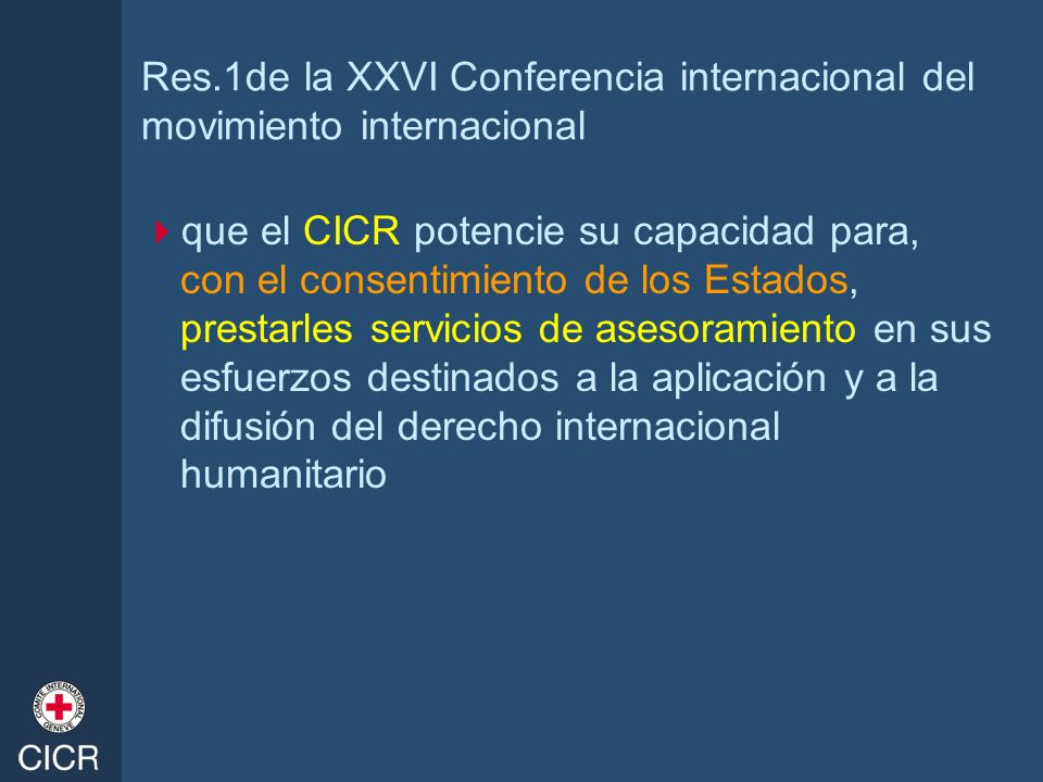 Res.1de la XXVI Conferencia internacional del movimiento internacional