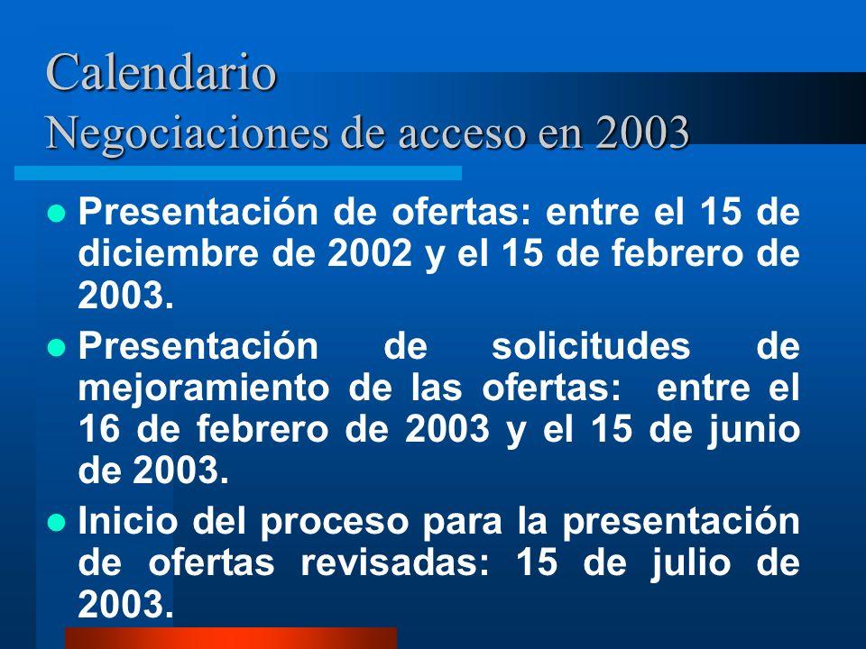 Calendario Negociaciones de acceso en 2003
