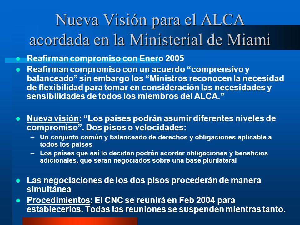 Nueva Visión para el ALCA acordada en la Ministerial de Miami