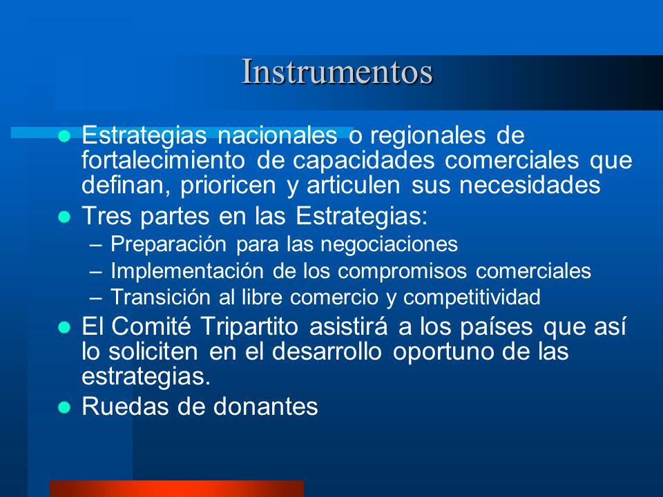 Instrumentos Estrategias nacionales o regionales de fortalecimiento de capacidades comerciales que definan, prioricen y articulen sus necesidades.