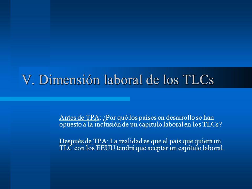V. Dimensión laboral de los TLCs