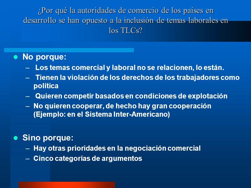 ¿Por qué la autoridades de comercio de los países en desarrollo se han opuesto a la inclusión de temas laborales en los TLCs