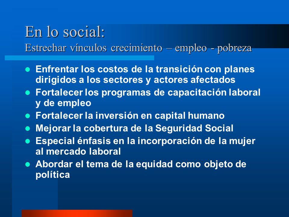 En lo social: Estrechar vínculos crecimiento – empleo - pobreza