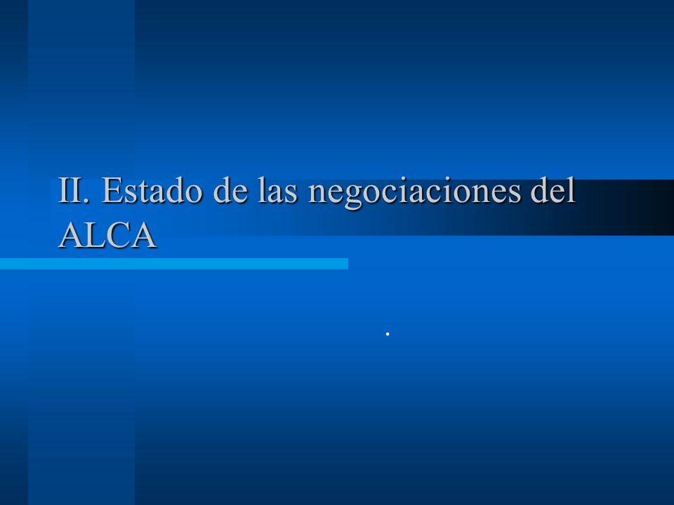 II. Estado de las negociaciones del ALCA