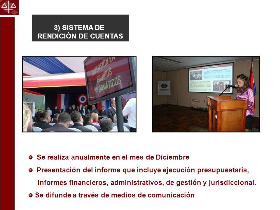 3) SISTEMA DE RENDICIÓN DE CUENTAS. Se realiza anualmente en el mes de Diciembre. Presentación del informe que incluye ejecución presupuestaria,