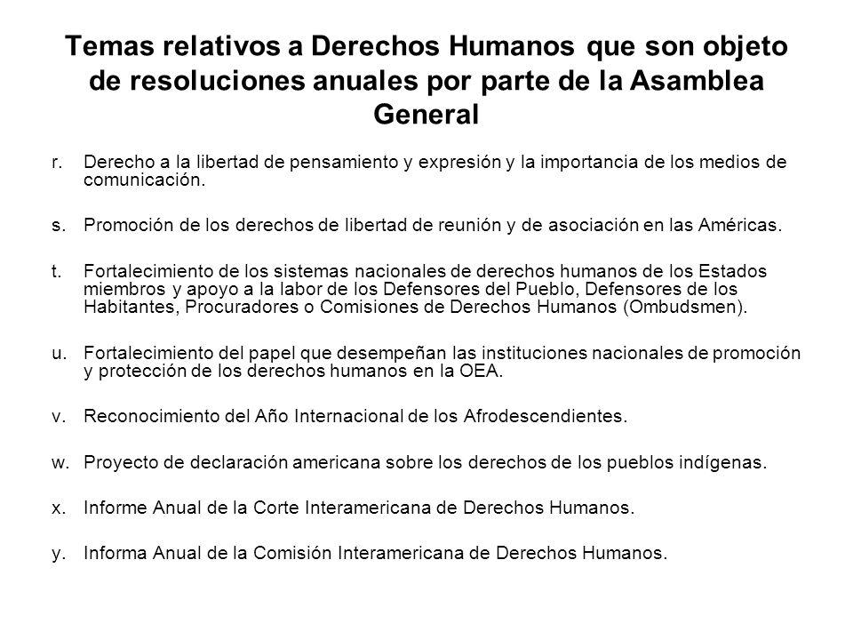 Temas relativos a Derechos Humanos que son objeto de resoluciones anuales por parte de la Asamblea General