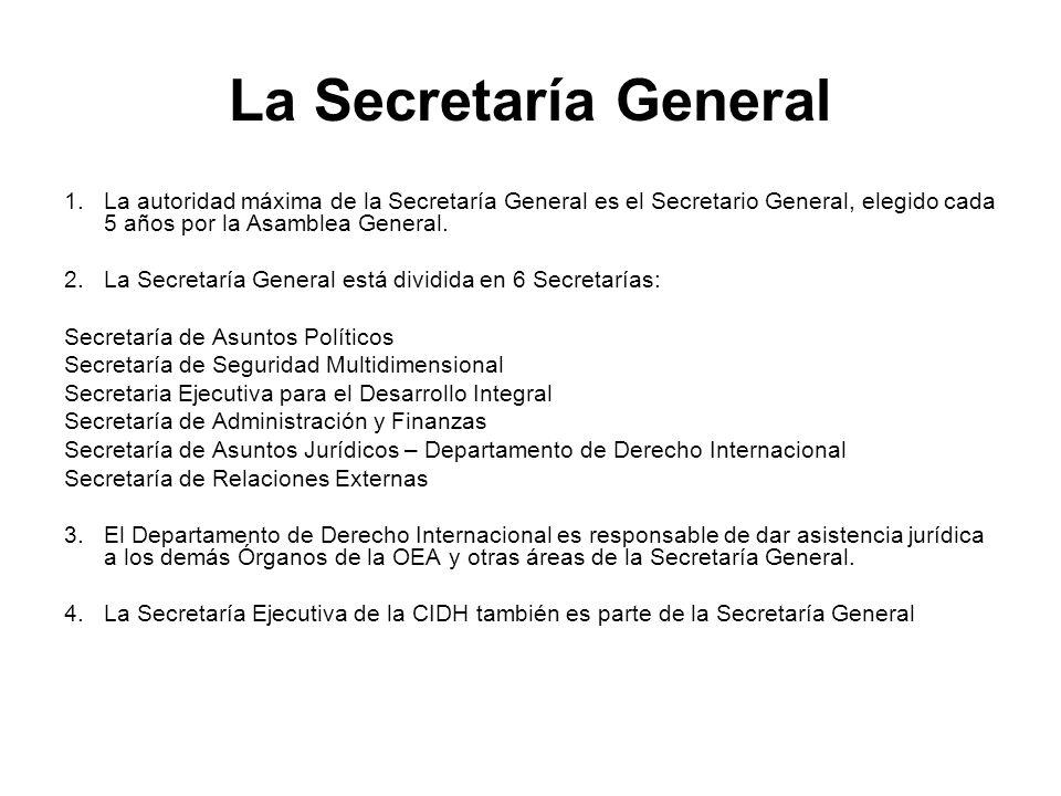La Secretaría General La autoridad máxima de la Secretaría General es el Secretario General, elegido cada 5 años por la Asamblea General.
