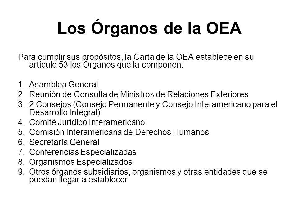 Los Órganos de la OEAPara cumplir sus propósitos, la Carta de la OEA establece en su artículo 53 los Órganos que la componen:
