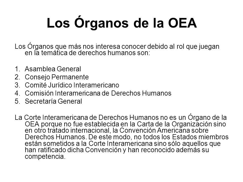 Los Órganos de la OEA Los Órganos que más nos interesa conocer debido al rol que juegan en la temática de derechos humanos son: