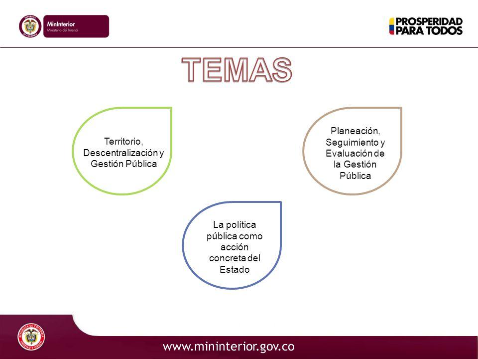 TEMAS Planeación, Seguimiento y Evaluación de la Gestión Pública
