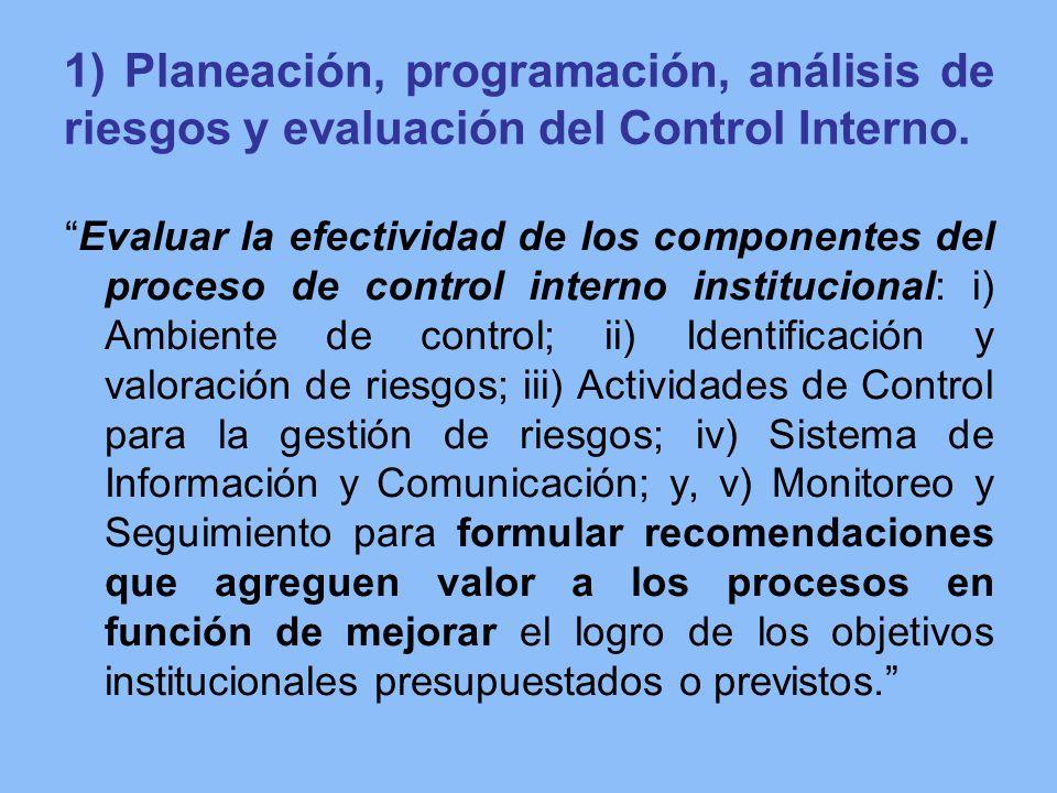 1) Planeación, programación, análisis de riesgos y evaluación del Control Interno.