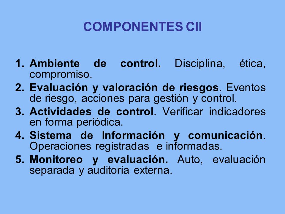 COMPONENTES CII Ambiente de control. Disciplina, ética, compromiso.