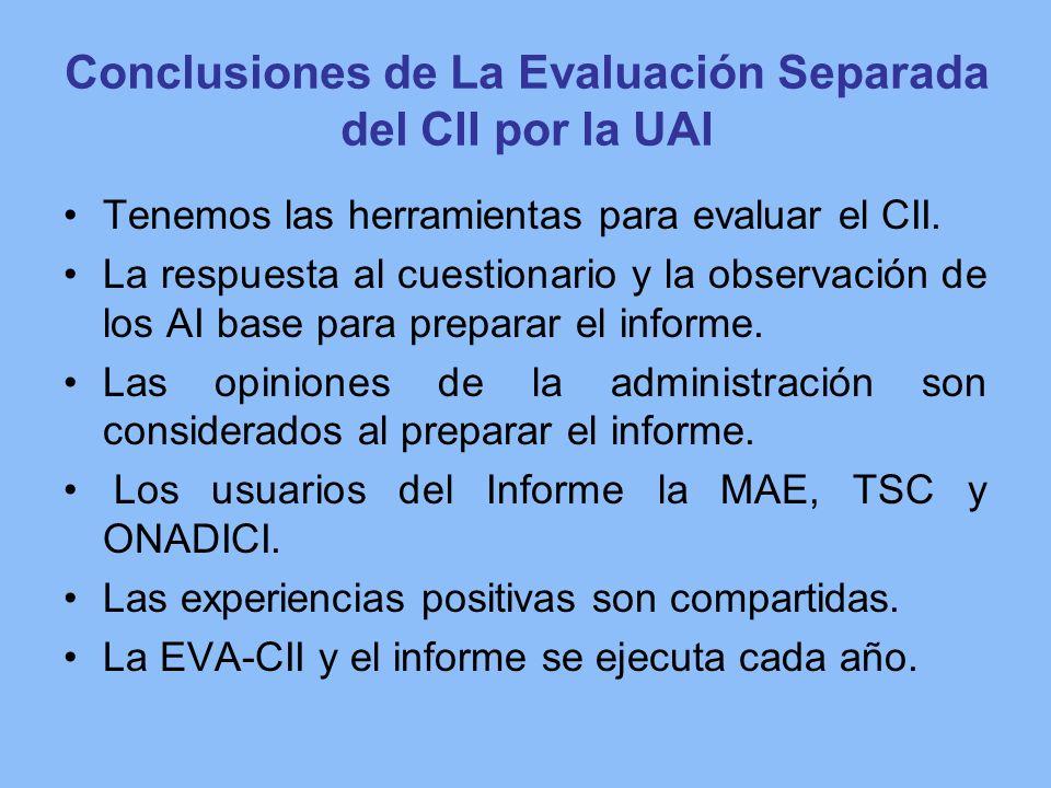 Conclusiones de La Evaluación Separada del CII por la UAI