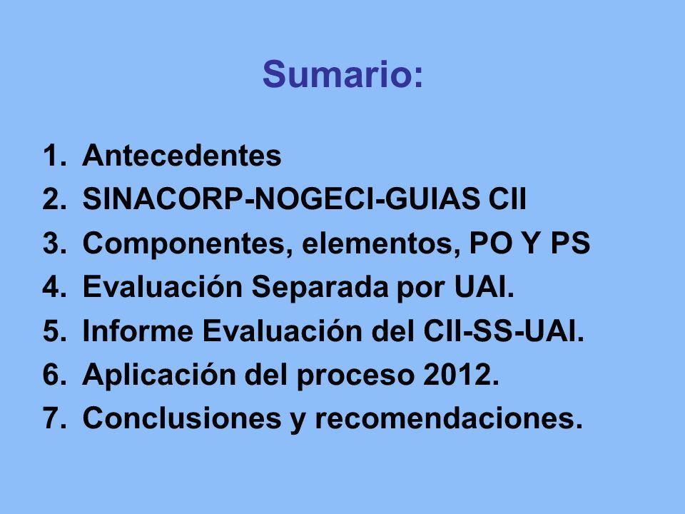 Sumario: Antecedentes SINACORP-NOGECI-GUIAS CII