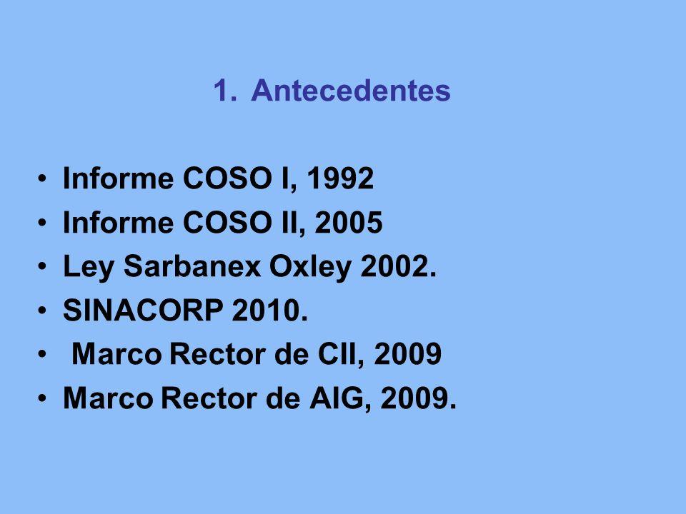 Antecedentes Informe COSO I, 1992. Informe COSO II, 2005. Ley Sarbanex Oxley 2002. SINACORP 2010.
