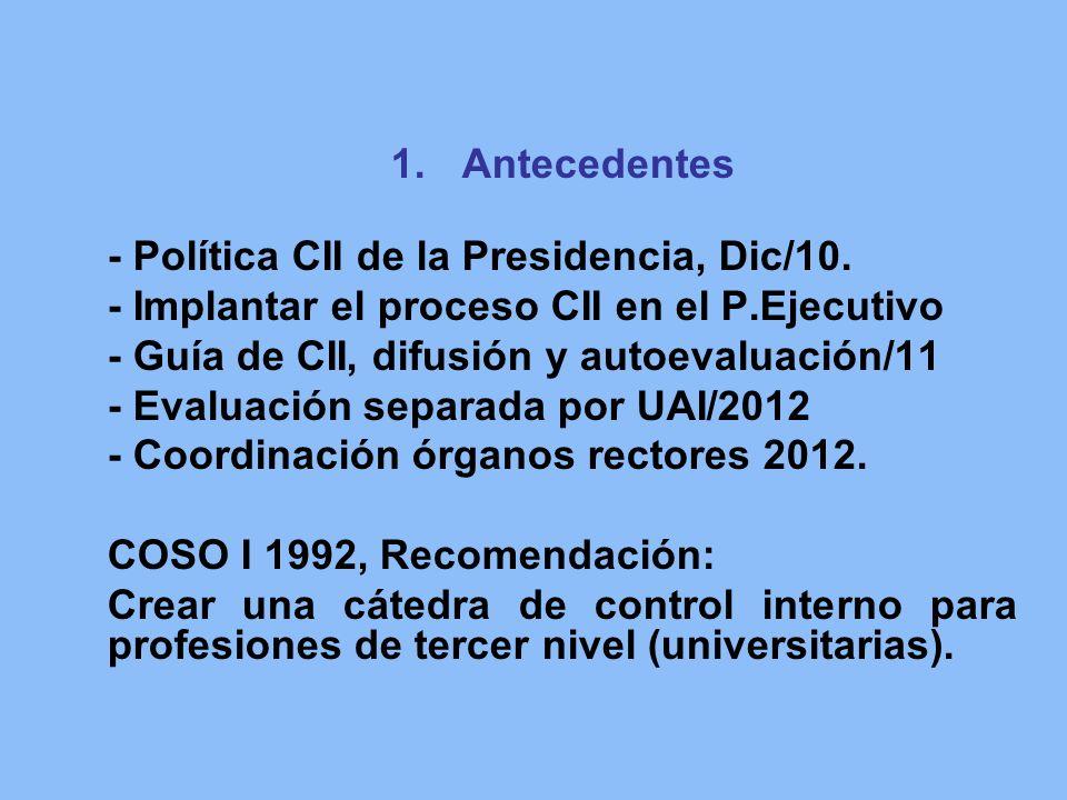 Antecedentes - Política CII de la Presidencia, Dic/10. - Implantar el proceso CII en el P.Ejecutivo.